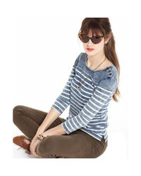 Maison Jules - Blue Threequarter Boatneck Striped Denim - Lyst