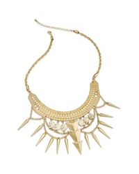 Material Girl - Metallic Gold Tone Skull Spike Collar Necklace - Lyst