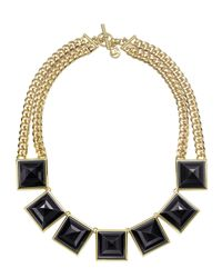 Michael Kors | Metallic Pyramid Collar Necklace Goldenblack | Lyst