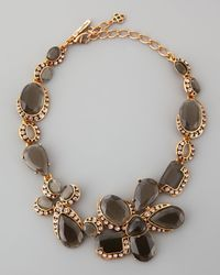 Oscar de la Renta | Flower Crystal Necklace Gray | Lyst