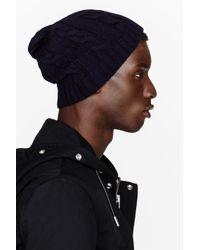 Saint Laurent | Blue Navy Cableknit Beanie for Men | Lyst