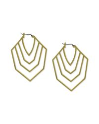 Vince Camuto - Metallic Goldtone Cutout Chevron Clicktop Hoop Earrings - Lyst