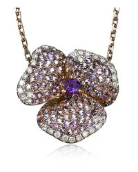 AS29 - Pink Amethyst Pave Diamond Flower Necklace - Lyst