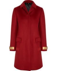 Burberry Prorsum - Red Metal trimmed Cashmere blend Felt Coat - Lyst