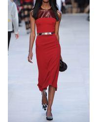 Burberry Prorsum - Red Sleeveless Silkcrepe and PVC Dress - Lyst