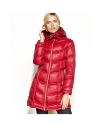 Calvin Klein | Red Packable Hooded Quilted Puffer | Lyst
