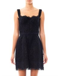 Dolce & Gabbana | Black Fringed Twill Dress | Lyst