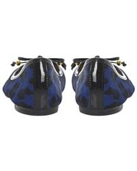 Dune - Blue Mina Leopard Print Leather Ballerina Shoes - Lyst