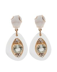 Federica Rettore | White Quartz And Dimond Drop Earrings | Lyst