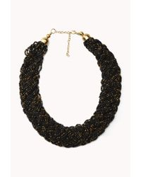 Forever 21 | Black Braided Metallic Bead Necklace | Lyst