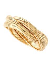Fragments - Metallic Golden Intertwined Snakechain Bracelet - Lyst