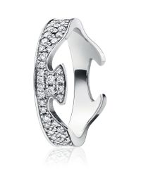 Georg Jensen | Metallic Pave Diamond Fusion Ring End | Lyst
