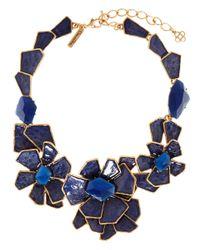 Oscar de la Renta | Blue Floral Bib Necklace | Lyst