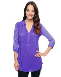 Splendid - Purple 3/4 Sleeve Shirting Top - Lyst