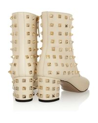 Valentino - Natural Studded Leather Ankle Boots - Lyst