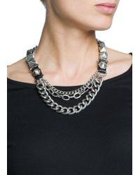 Mango - Metallic Punk Style Chain Necklace - Lyst