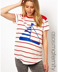 ASOS | Brown Exclusive Boyfriend Tee in Stripe and Boat Print | Lyst