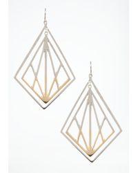 Bebe - Metallic Two Tone Lasercut Earrings - Lyst