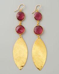 Devon Leigh - Metallic Double Amethyst Quartz Gold Leaf Earrings - Lyst
