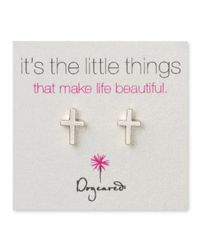Dogeared - Metallic Sterling Silver Simple Cross Earrings - Lyst