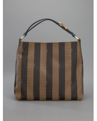 Fendi - Brown Pequin Hobo Tote - Lyst