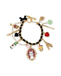Betsey Johnson - Multicolor Antique Goldtone Cat Multicharm Toggle Bracelet - Lyst