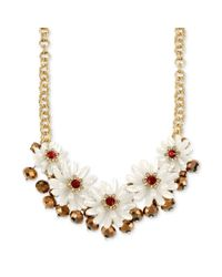 Betsey Johnson - Metallic Antique Goldtone Imitation Pearl Flower and Cherry Bead Frontal Necklace - Lyst