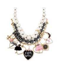 Betsey Johnson - Multicolor Antique Goldtone Paristhemed Multicharm Beaded Statement Necklace - Lyst