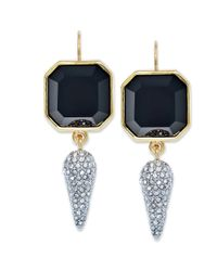 Juicy Couture - Goldtone Black Stone and Pave Spike Drop Earrings - Lyst