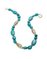 Lauren by Ralph Lauren | Metallic Worn Goldtone Reconstituted Turquoise Textured Bead Necklace | Lyst