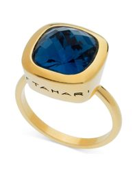 T Tahari - Metallic 14k Goldplated Cushioncut Blue Montana Crystal Ring - Lyst