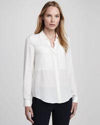 Theory | White Durlia Silk Blouse | Lyst