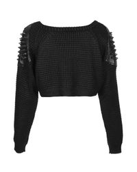 TOPSHOP | Black Vadar Cropped Waffle Knit By The Ragged Priest | Lyst