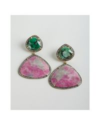 Amrapali - Pink Sapphire Emerald and Diamond Drop Earrings - Lyst