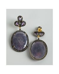 Amrapali - Purple Sapphire and Diamond Oval Drop Earrings - Lyst