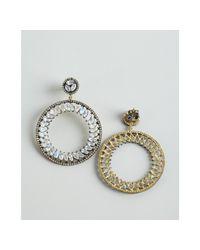 Amrapali - Metallic Moonstone and Diamond Hoop Drop Earrings - Lyst