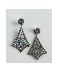 Amrapali - Metallic Moonstone and Diamond Ornate Drop Earrings - Lyst