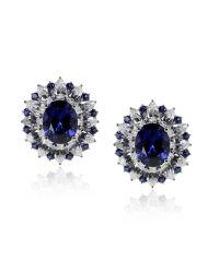 Carat* - Blue Sapphire Oval Cluster Earrings - Lyst