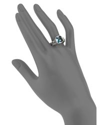 John Hardy - Metallic Classic Chain Blue Topaz & Sterling Silver Small Braided Ring - Lyst