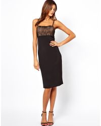 ASOS - Black Cami With Lace Top Dress - Lyst