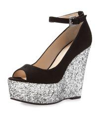 Boutique 9 Metallic Christine Sparkle Platform Wedge Black-silver