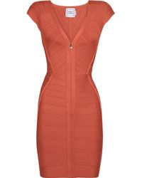 Hervé Léger Orange Zip-front Bandage Dress