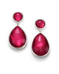 Ippolita | Red Wonderland Raspberry Mother-of-pearl, Clear Quartz & Sterling Silver Teardrop Snowman Doublet Post E | Lyst