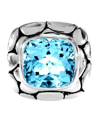 John Hardy - Large Square Blue Topaz Ring - Lyst