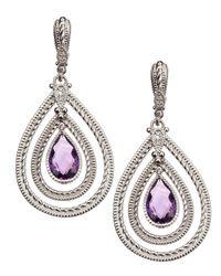 Judith Ripka - Metallic Marina Large Amethyst Earrings - Lyst