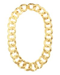 Kenneth Jay Lane - Metallic Hammered Link Necklace - Lyst