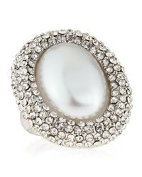 Kenneth Jay Lane | Metallic Pave Oval Pearly Adjustable Ring | Lyst