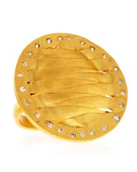 Kevia - Metallic Golden Woven Disc Ring - Lyst