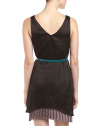 Pjk Patterson J. Kincaid - Belted Twolayer Vneck Dress Blackbrown - Lyst