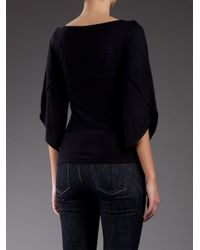 Ralph Lauren Black Label - Black Fluted Sleeve Top - Lyst